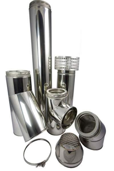 """System 1 Single wall flue 297-466mm adjustable - diameter 200mm / 8"""""""